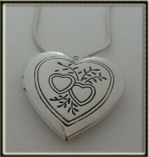 LOVE Heart Shaped Locket & Chain, Silver Plated, Comes in a Gift Bag