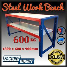 600KG HEAVY DUTY STEEL WORK BENCH STORAGE RACKING WAREHOUSE GARAGE WORK FACTORY
