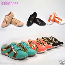 Women's Fashion Cute Comfort Flat Heel Lace Up Sneaker Shoes All Size 6 - 10 New