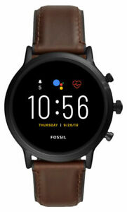 Fossil The Carlyle HR Gen 5 44mm Black Men's Dark Brown Leather