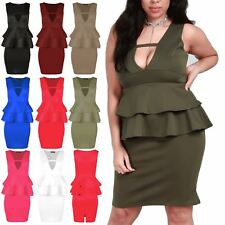 Womens Mini Dress Ladies V Neck Double Frill Peplum Back Split Bodycon Plus Size
