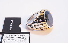 John Hardy NEW Dot 18K Gold & Sterling Silver Hematite Ring sz8 $1,495 Tag/Pouch