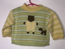 Hanna Andersson Yellow Green Striped Sweater Bear Puppy Dog Appliqué Sz 60 3-6m