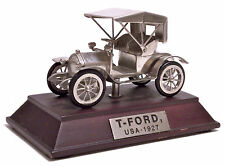 MODELLINO VINTAGE IN PELTRO -  FORD MODEL T TOURING - USA 1927 - BASE IN LEGNO