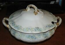 "Haviland Limoges Blue Rose Garland 8 3/4"" Soup Tureen  EXC!"