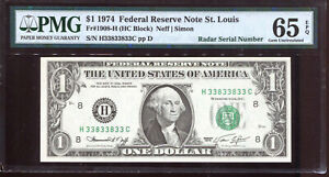 1974 $1 FRN w/ Fancy 3/8 BINARY, RADAR, & BOOKEND Serial #H33833833C PMG 65EPQ