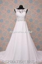 1596 White Ivory wedding dress DELICATE CHIFFON 5204 mori A line made to measure
