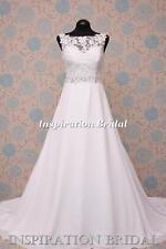 1596 White Ivory wedding dress DELICATE CHIFFON 5204 mori A line made to measure