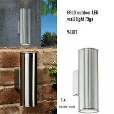 EGLO Outdoor LED Wall Light Lamp Garden Decor Stainless Steel Riga Silver 94107