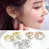 New Fashionable Silver Gold Round Cubic Zirconia Cartilage Huggie Hoop Earrings