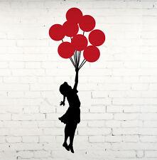 Girl Flying Red Balloons Banksy Wall Sticker Art Vinyl Transfer