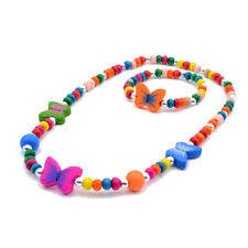 Newest Lovely Butterfly Wood Beads Bracelet Necklace Gift Children's Jewellery