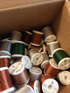 60+ Spools Gudebrod Size E Nylon Rod Winding Thread Variety