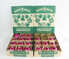 "Vtg Shiny Brite Glass Pink 3"" Balls Christmas Ball Ornaments Original Box Lot"