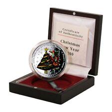Liberia Christmas Tree $10 2010 Colored 2 oz Proof Silver Crown Mint Box & COA