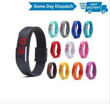 Unisex Digital LED Sports Wristband Watch Silicone Boys Girls Mens Ladies Kids