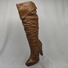 Jessica Simpson Brown Distress Leather Knee High Heel Platform Boot Sz 8 B 38 EU