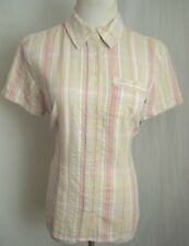Basic Editions Lt Wt Button Front Pink & Khaki Top NWT $13 Camp Shirt Size S