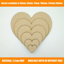 Wooden MDF Hearts Shape 3mm MDF, Craft Shape, Tags, With or Without Hole option
