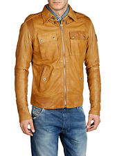 DIESEL LISARD BROWN LEATHER JACKET SIZE XXL 100% AUTHENTIC