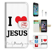 ( For iPhone 7 ) Wallet Case Cover P0697 I Love Jesus