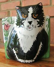 Cats by Nina~Ceramic Tissue Box Cover~3D Black/White Cat~Floral Box