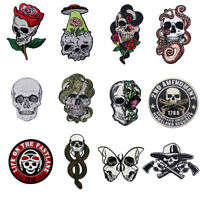 Embroidered Iron Sew On Patches Appliques Badge transfers Skeletons Skull Series