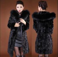 Womens Faux Fur Mid Long Thicken Hooded Coat Slim Fit Plus Size Jacket Outerwear