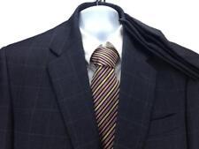 "Jos A Bank Men's Dark Gray Windowpane Suit Sz 40R Pant 35"" x 29"" 100% Wool   #T9"