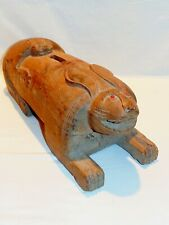 Large Antique Folk Art / Outsider Art - Hand Carved Rabbit w/ Monkey on his Back