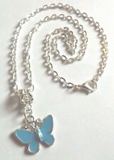 collier chaine argenté 41,5 cm avec pendentif papillon turquoise 17x20 mm