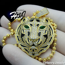 "925 STERLING SILVER 20""24""30""X3MM GOLD/SILVER MOON BEAD CHAIN TIGER PENDANT*P247"