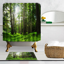 Forest bathed in sunshine Polyester Home Decor Shower Curtain & Bath Mat 12hooks