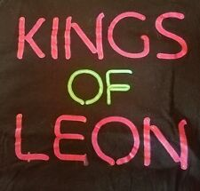 KINGS OF LEON BLACK T-SHIRT  NEON LETTERING PRE-OWNED XLARGE SEX ON FIRE