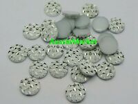 30 x silver glitter cabochons resin round flatback 12mm pattern jewellery crafts