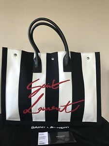Saint Laurent Cabas Striped Tote Bag(Authentic)