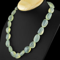 624.00 CTS NATURAL RICH GREEN CHALCEDONY UNTREATED BEADS HAND MADE NECKLACE