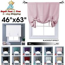"""Blackout Thermal Drapes Curtains Tie Up Shades Short Kitchen Window Decors 63""""L"""