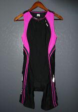 ORCA one piece Triathlon Tri Suit BLACK & PINK Cycling Swim Bib Shorts Womens LG