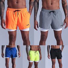 Mens Sports Training Shorts Running Bodybuilding Workout Fitness Gym Biker Pants
