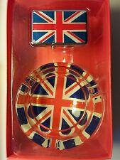 CRYSTAL GLASS ASHTRAY & WINDPROOF LIGHTER SET LONDON SOUVENIR GIFT