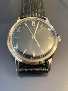 Timex Marlin Hand-Wound 34mm Leather Strap Watch
