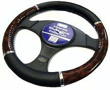 Wooden Effect & Black Steering Wheel Cover Glove Protector For Car/Van Soft Grip
