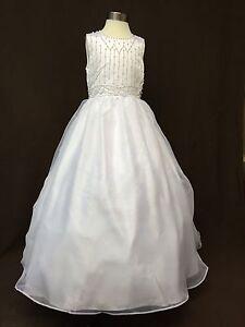 New Flower girl First Holy Communion Bridesmaid Wedding White Dress 8-9 Year