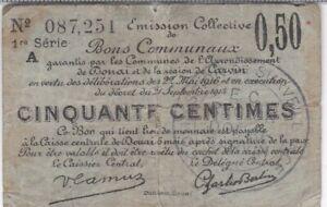 DOUAI & REGION DE CARVIN : BILLET DE NECESSITE DE 50 CENTIMES 1916