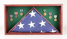 9.5 x 5 Memorial Oak Flag Display Case hold Memorabilia / MADE IN THE USA