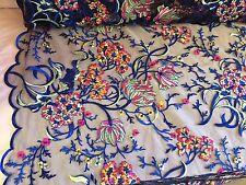 Royal Blue Oaxaca Zarape Multicolor Design Embroider On A Mesh Lace Fabric-yard.