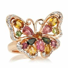 VICTORIA WIECK 3.80 CT MULTICOLOR TOURMALINE WHITE TOPAZ BUTTERFLY RING SZ 9 HSN
