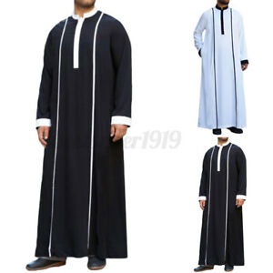 INCERUN Men Muslim Clothing Dishdash Jubba Kaftan Thobe Arab Islamic Saudi Dress