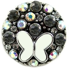 Black Opal Rhinestone Butterfly 20mm Snap Charm Jewelry For Ginger Snaps